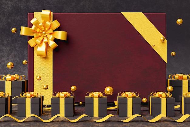 Elegante kastanjebruine fluwelen wenskaart met gouden lint en donkere geschenken rond