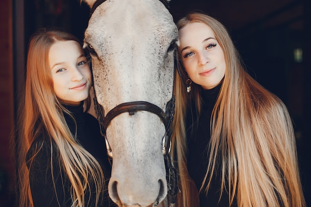 Elegante meisjes met een paard in een boerderij