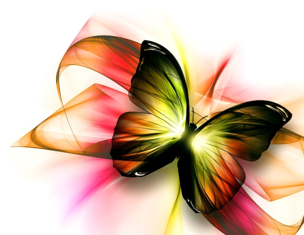 Elegante mooie vlinder op een lichte achtergrond