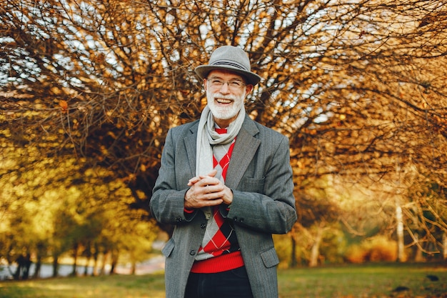 Elegante oude man in een zonnige herfst park