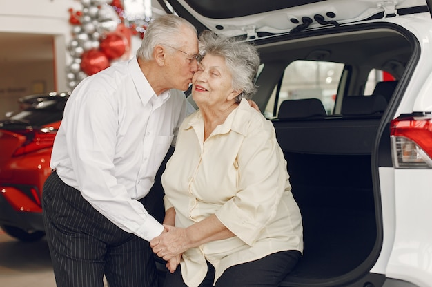 Elegante oude paar in een auto salon