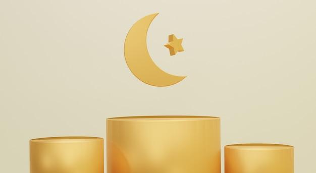 Elegante ramadan kareem-wenskaartachtergrond met gouden podium en maan