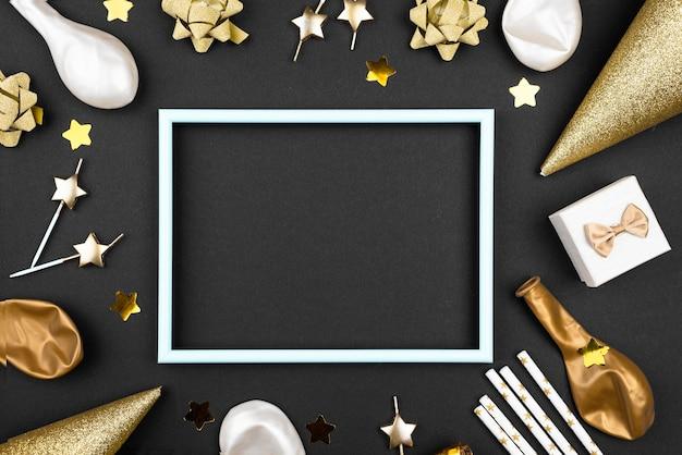 Elegante verjaardag versieringen frame plat leggen