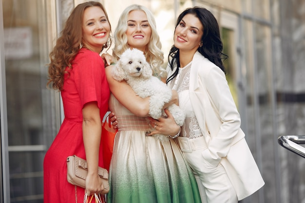 Elegante vrouwen met kleine hond in een stad