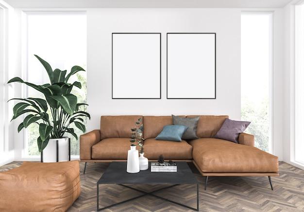 Elegante woonkamer met een leren bank, dubbele frames mockup, artwork achtergrond
