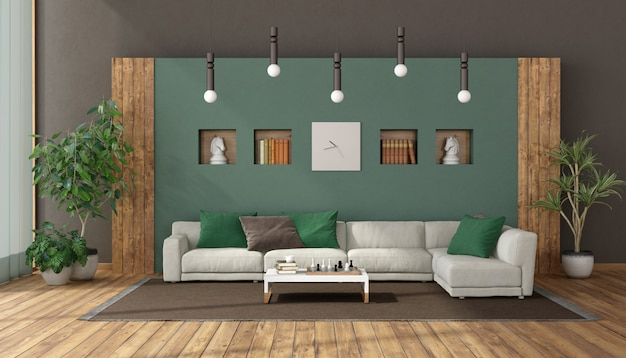 Elegante woonkamer met witte sofa tegen groene muur