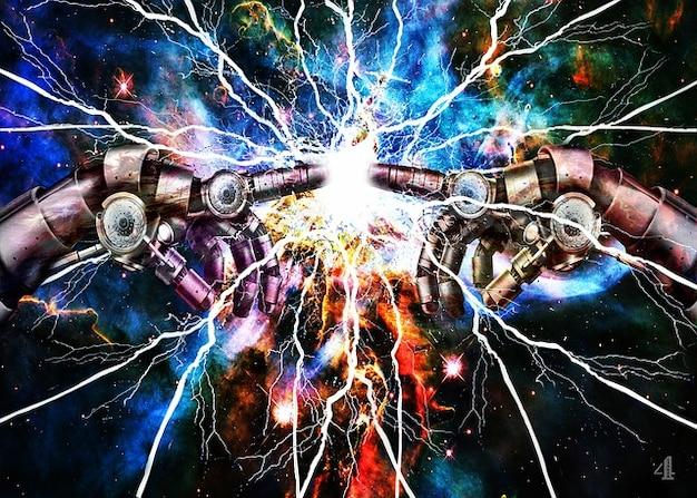 Elektriciteit knippert aanraking ruimte vinger