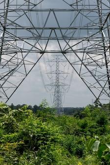 Elektriciteitspost op blauwe hemelachtergrond.