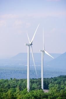 Elektriciteitsproductie met windturbines, natuurlijke energie.