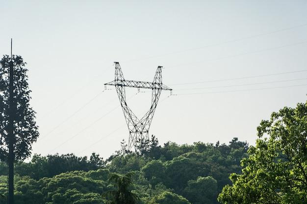 Elektriciteitspylonen en krachtleidingen, bij zonsondergang