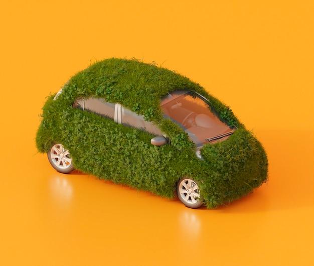 Elektrische auto bedekt met gras