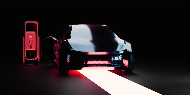 Elektrische auto bij laadstation rode rook en licht op donkere achtergrond