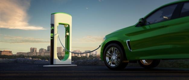Elektrische auto en ev-oplader stadsachtergrond