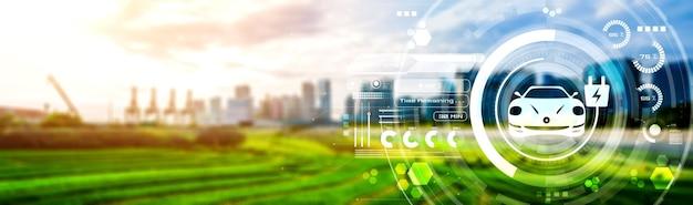 Elektrische auto in concept van groene duurzame energie gebruikt door ev-laadstation geproduceerd uit hernieuwbare bronnen voor levering aan laadstation om de co2-uitstoot te verminderen.