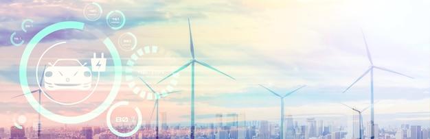 Elektrische auto in concept van groene duurzame energie gebruikt door ev-laadstation