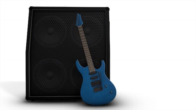 Elektrische blauwe gitaar met een grote combo