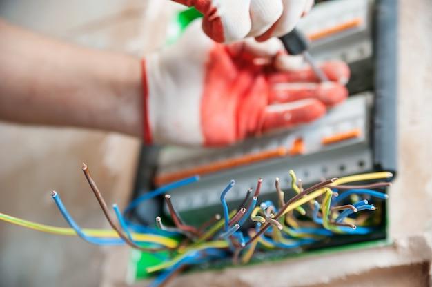 Elektrische draden steken uit de schakelkast.