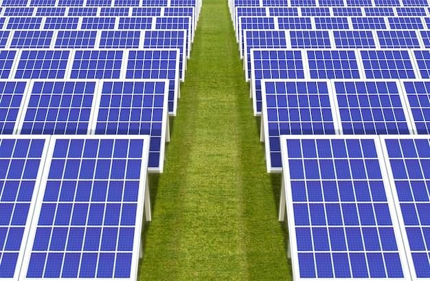 Elektrische energie generator systeem, zonnecellen panelen veld boerderij