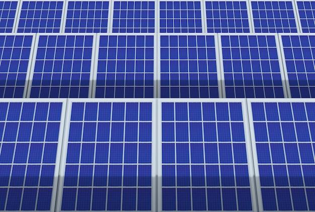 Elektrische energie generator systeem, zonnepanelen panelen veld boerderij industrie achtergrond.