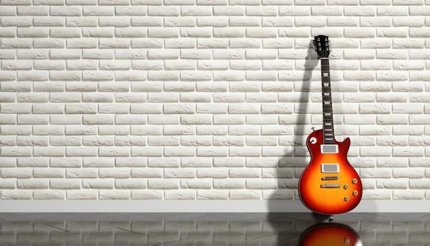 Elektrische gitaar op een achtergrond van beige bakstenen muur, 3d illustratie