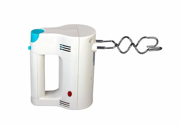 Elektrische handmixer is een keukenapparaat bedoeld om te mengen geïsoleerd op een witte achtergrond