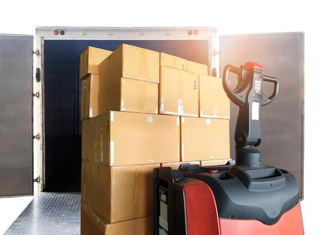 Elektrische heftruckpalletkrik die verzenddozen in ladingcontainer laadt