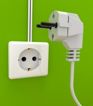 Elektrische stekker en stopcontact. 3d-gerenderde afbeelding