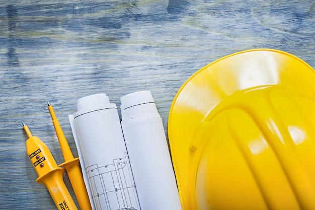 Elektrische tester veiligheid bouwhelm constructietekeningen o