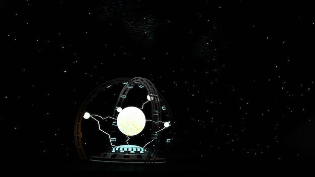 Elektrische vonk plasma bal in wit op donkere achtergrond krachtige elektrische energie flits magische energie 3d illustratie