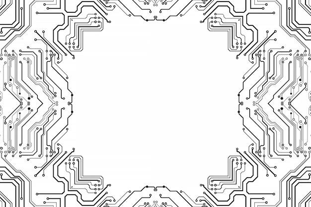 Elektronica spaanplaat. printplaat elektronisch high-tech model, digitale technologie. illustratie abstracte computerchip. zwarte monochrome microchip, isoleren op witte achtergrond