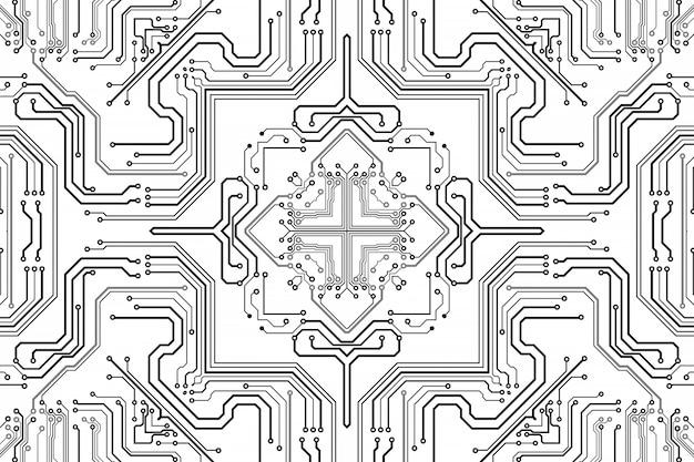 Elektronica spaanplaat. printplaat elektronisch high-tech model, digitale technologie
