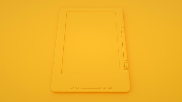 Elektronisch boek of e-boeklezer op gele achtergrond