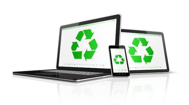 Elektronische apparaten met een recyclingssymbool op het scherm.