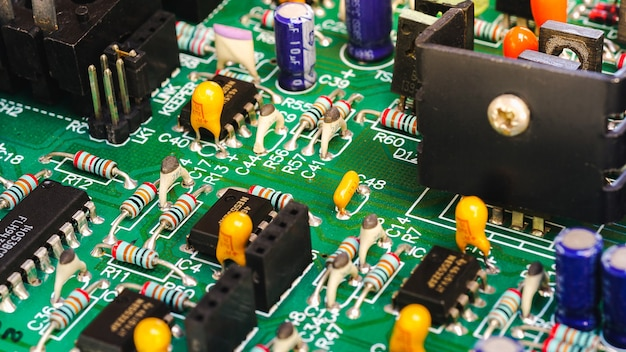 Elektronische printplaat close-up elektronische apparaten op borden