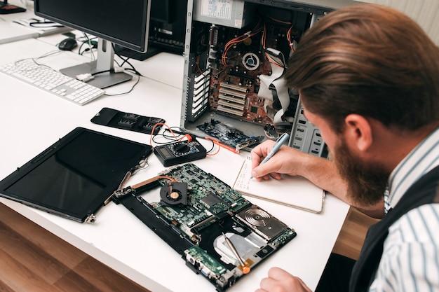 Elektronische reparatie repareren renovatie inventaris bedrijfsconcept