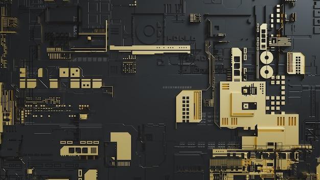 Elektronische schakelingen met goud op zwarte achtergrond. 3d render en illustratie.