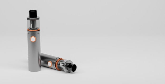 Elektronische sigarenzilver met oranje details op witte achtergrond en ruimte voor tekst. vaper concept 3d-rendering