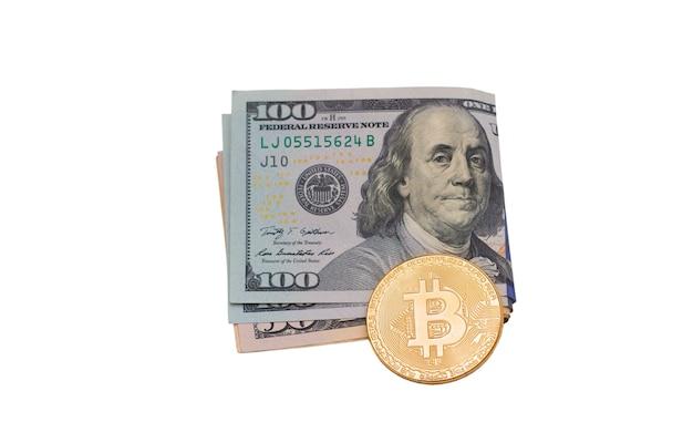 Elektronische valuta bitcoin en contant geld. elektronisch geld