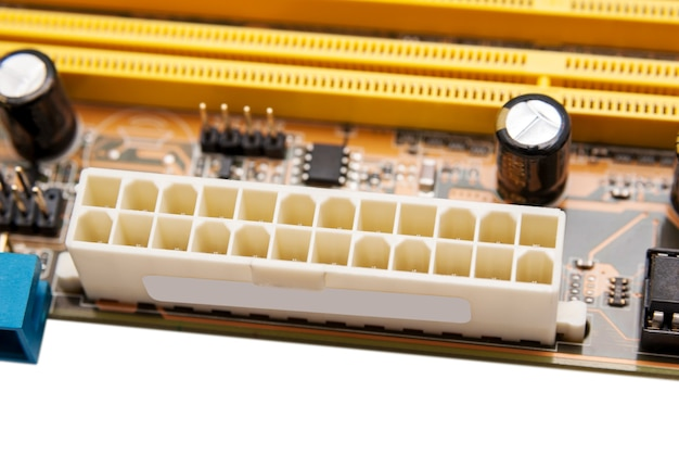 Elektronische verzameling - stroomconnector op het moederbord van de computer