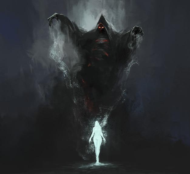 Elfen werden geboren uit de magie van de dood, magische illustratie, 3d illustratie