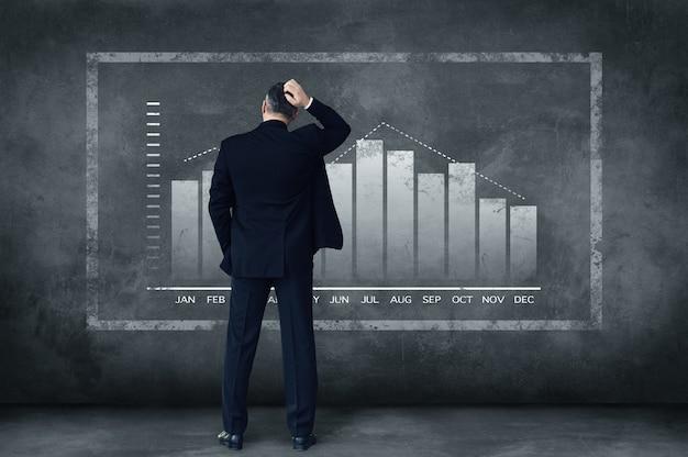 Elke dag moeilijke beslissingen. achteraanzicht van een volwassen zakenman die zijn hoofd krabt terwijl hij tegen een grijze achtergrond staat met een afbeelding van een grafiek