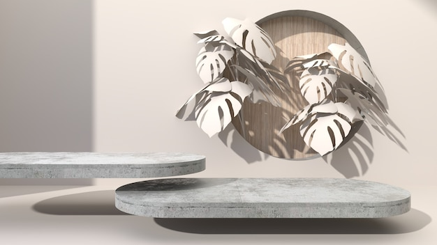 Elliptisch geometrisch beton op een crèmekleurige abstracte achtergrond boorgat zetten houten. versier met monstera-bladeren. voor het presenteren van cosmetische producten. 3d-weergave