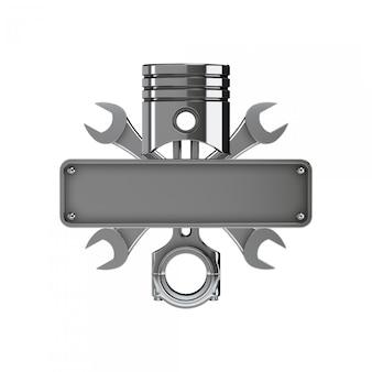 Embleem gemaakt met zuiger, sleutels en kentekenplaat. chrome-versie.