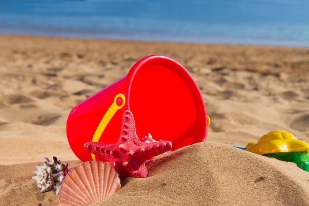 Emmer met schelpen in zand aan de kust op zonnige zomerdag