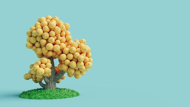 Emoji-boom geel op blauwe achtergrond