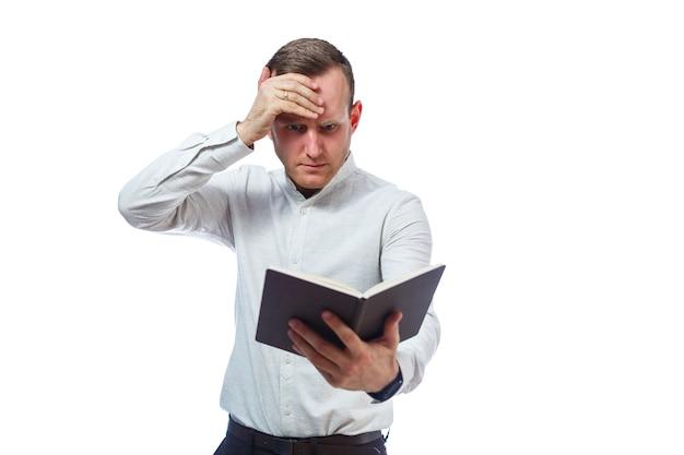 Emotioneel portret van een zakenman mannelijke leraar. geïsoleerd op witte achtergrond