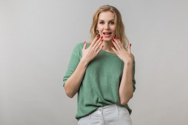Emotioneel portret van verrast jonge aantrekkelijke vrouw met geschokte uitdrukking van gezicht, open mond, handen omhoog houden, grappige emotie, casual stijl, groene trui, gek, geïsoleerd, in de camera kijken