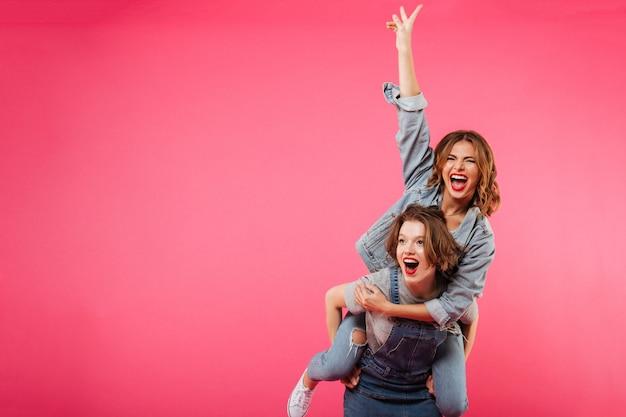 Emotionele geweldige twee vrouwen hebben plezier geïsoleerd