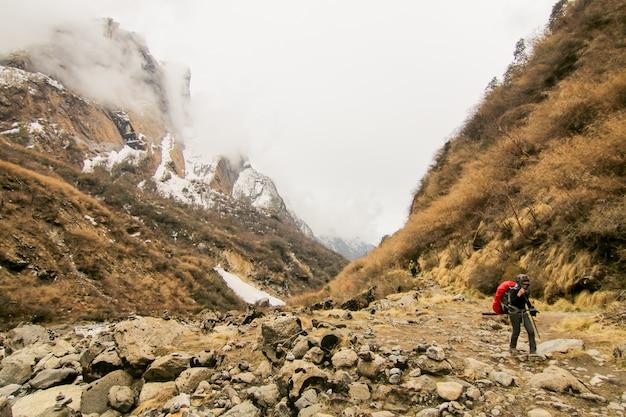 Endurance wandelaar mensen vrijheid bergbeklimmen