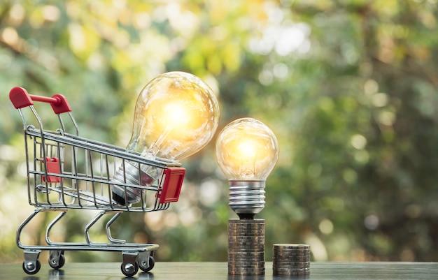 Energie - besparings gloeilamp met stapels muntstukken en boodschappenwagentje voor besparing